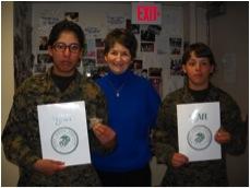 Oscar Co Molly Marine Recipients 19 January 2011; LtoR:  PFC Maria J. Magana-Saldivar, Reno, NV; Linda Priest WMA Molly Marine Liaison, USMC 1966-1975; PFC Hannah L. Ramsey, Scottsdale, AZ