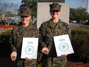 Molly Marines PFC Estep and PFC Kennedy at Parris Island, SC, January 16,2013