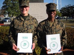 Molly Marines PFCs Lauren A. Wiley, Marlette, MI, and Latia A. Boggan, St. Johns, FL.