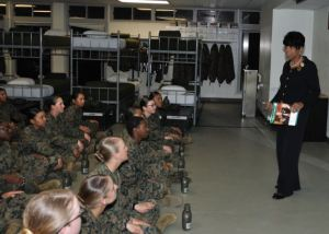 Betty Moseley Brown President  Women Marines Association talks to recruits on 70th Anniversary.