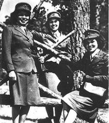 U.S. Marine Corps women reservists at Camp Lejeune, North Carolina - 1943 L-R: Minnie Spotted Wolf (Blackfeet), Celia Mix (Potawatomi), Viola Eastman (Ojibwa)