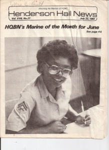 July 23, 1982 issue of the Henderson Hall News for being named HQBN Marine of the Month for June