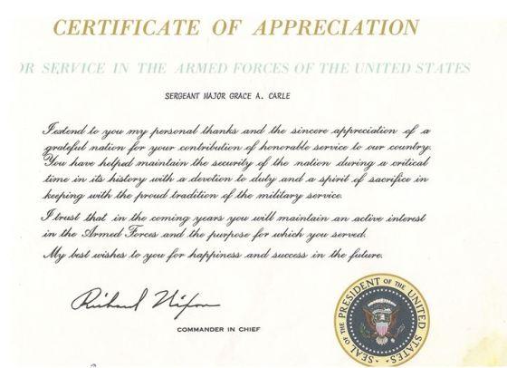 Certificate of Appreciation from Richard Nixon