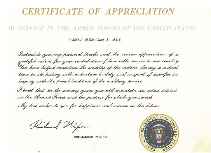 Certificate of Appreciation from Richard Nixon