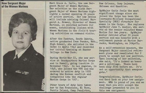 Grace Carle named Sergeant Major of Women Marines