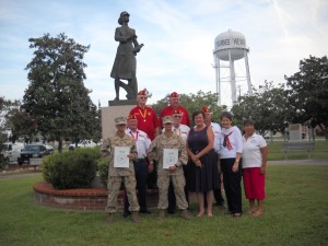 Papa Co's new Molly Marine Recipients with visitors MCL Members, Gainesville, GA, WMA Chapters GA-1, SC-1 11 September 2013  PVT Aria Hollingsworth, Plt 4030, Tigard, OR,; PFC Civlianna M. Dudock, Plt 4031, Phoenix, AZ with veteran Marines visiting from Marine Corps League Detachment 655, Gainesville, GA, WMA Dogwood Chapter, GA-1 Atlanta, GA and local Phyllis Alexander Chapter, SC-1, Beaufort, SC.  Veteran service of these individuals include WWII, Korea, Post Korea, Viet Nam, and Post Viet Nam