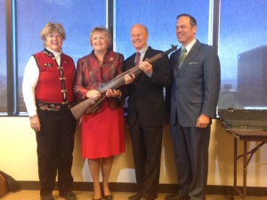 Shown in the photo are (L-R) State Senator Todd, Paula, Congressman Mike Coffman, and the CMP  Representative – Scott Maddox along with the M1 Garand rifle she received as the award.
